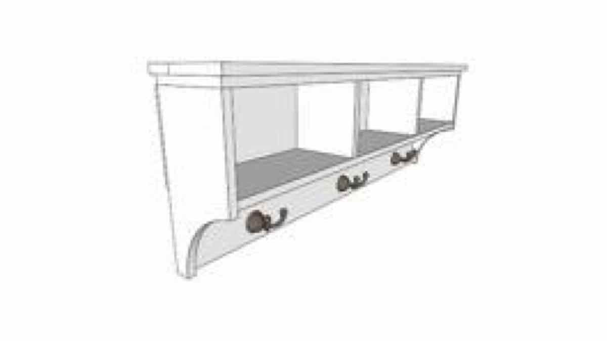 shelves,shelving,sketchup,Google 3D,3-D warehouse,furniture,wall mounted,hooks,shelfs,drawings,free woodworking plans,projects,do it yourself,woodworkers