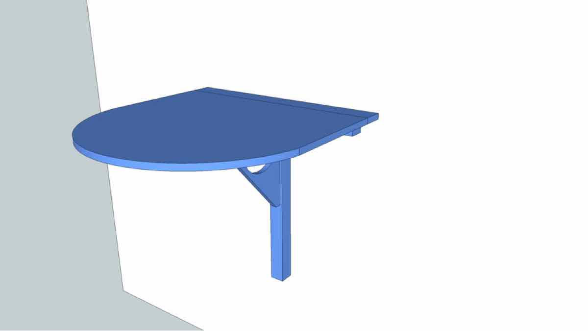 tables,wall mounted,sketchup,Google 3D,3-D warehouse,drop leaf,circular,half round,furniture,drawings,free woodworking plans,projects,do it yourself,woodworkers
