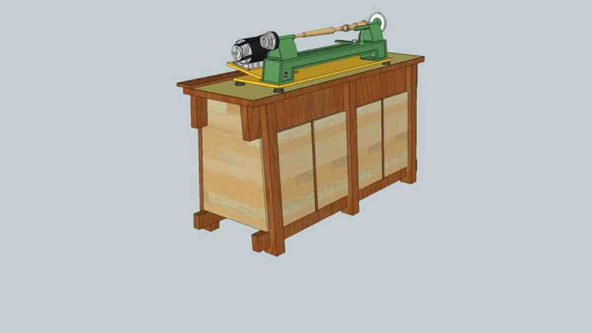 How to build a Lathe Bench free woodworking SketchUp project