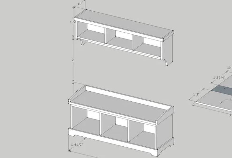 Build a Storage Bench with wall Shelf.