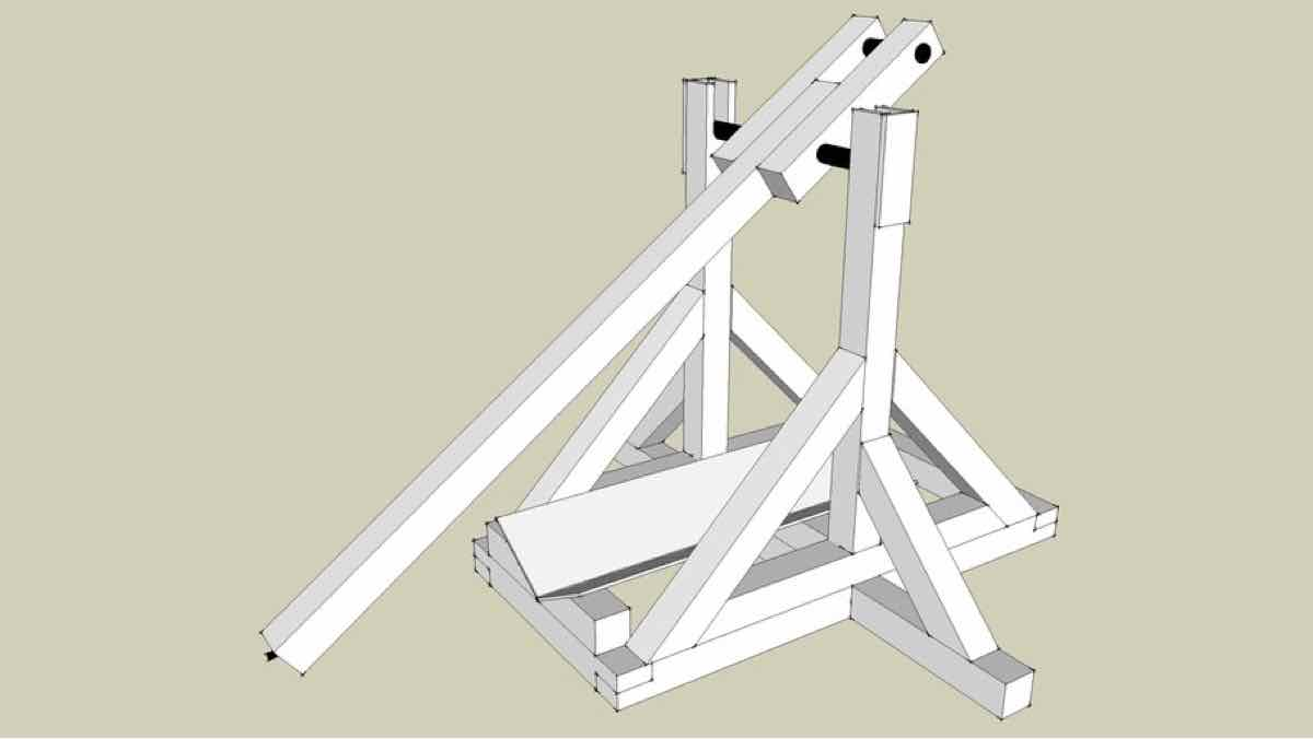 trebuchet,small,wooden,sketchup,Google 3D,3-D warehouse,desk top,desktop,drawings,free woodworking plans,projects,do it yourself,woodworkers