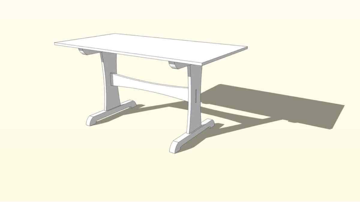 trestle tables,sketchup,Google 3D,3-D warehouse,furniture,tables,dining room,wooden,drawings,free woodworking plans,projects,do it yourself,woodworkers