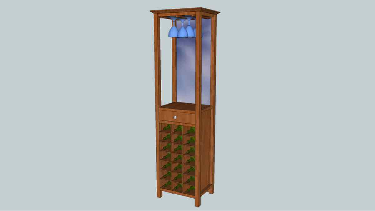 wine cabinets,wine racks,sketchup,Google 3D,3-D warehouse,furniture,storage,drawings,free woodworking plans,projects,do it yourself,woodworkers
