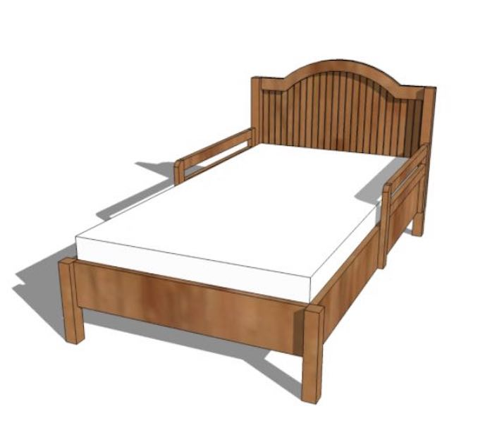 Build a Toddlers Bed With Arched Headboard using free plans.
