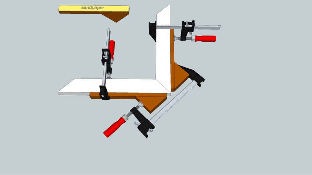 clamps,clamping,jigs,sketchup,Google 3D,3-D warehouse,mitered corners,drawings,free woodworking plans,projects,do it yourself,woodworkers