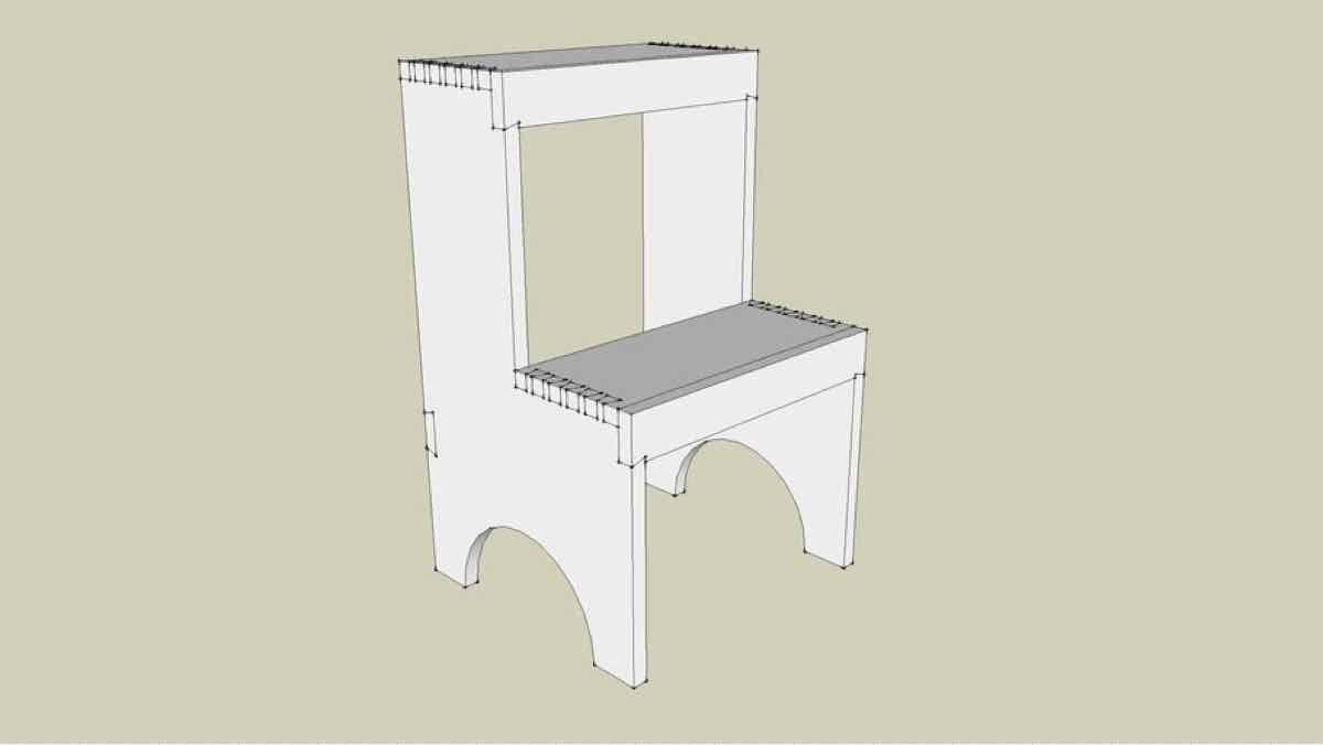 stools,step stools,sketchup,Google 3D,3-D warehouse,furniture,Shaker,drawings,free woodworking plans,projects,do it yourself,woodworkers