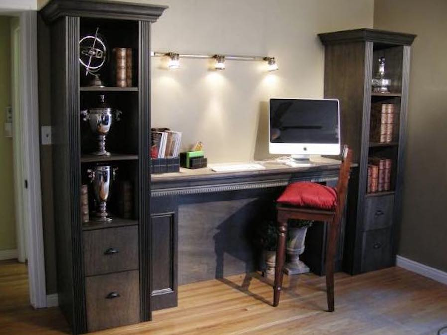Build a Shelving Tower over Filing Cabinet with free plans.