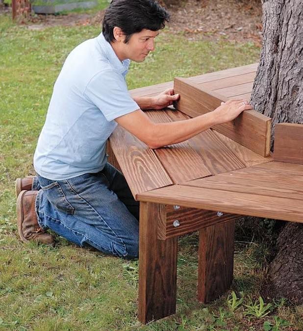 Free plans to build your own Tree Bench.