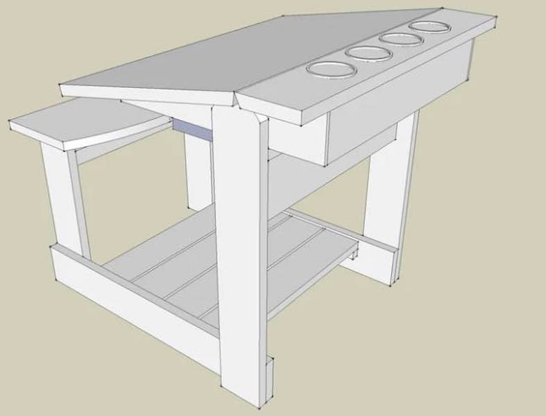 Free plans to build a Childs Art Desk.
