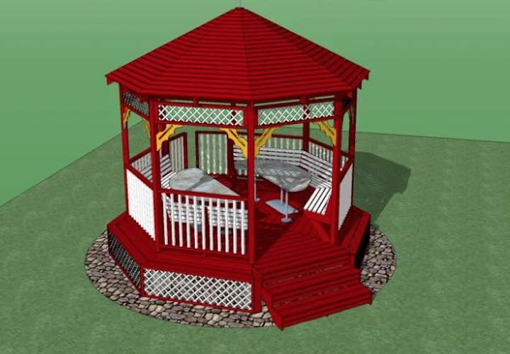 Build a Gazebo With Seating using free plans.
