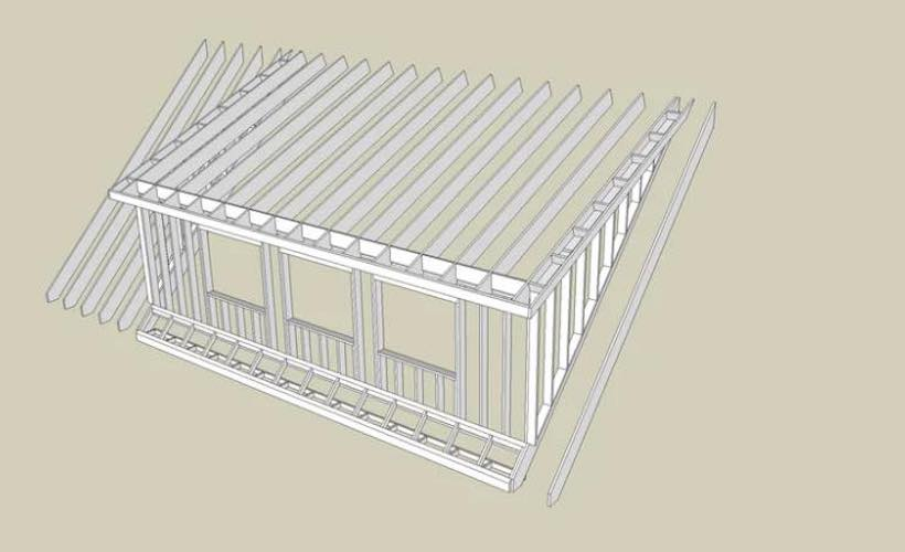 Free plans to build a Shed Dormer Structure.