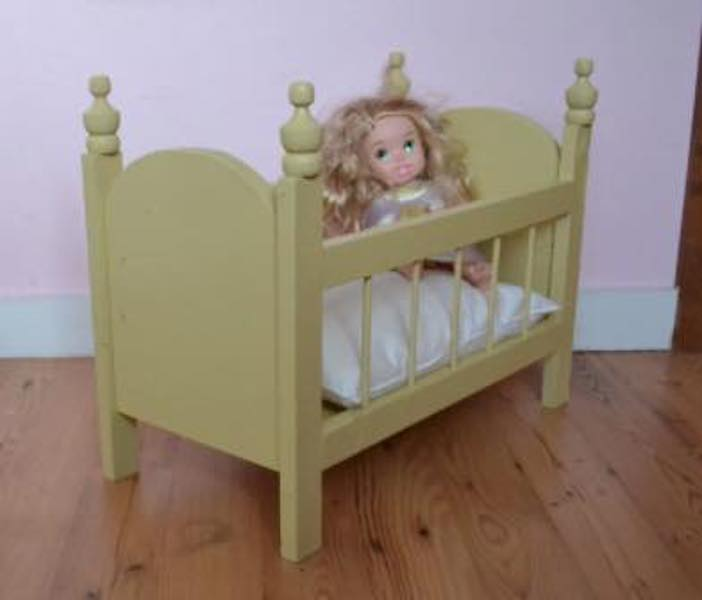Build a Doll Crib For 18 Inch Doll using free plans.