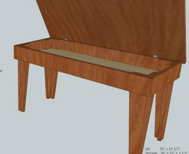 Free plans to build a Piano Bench.