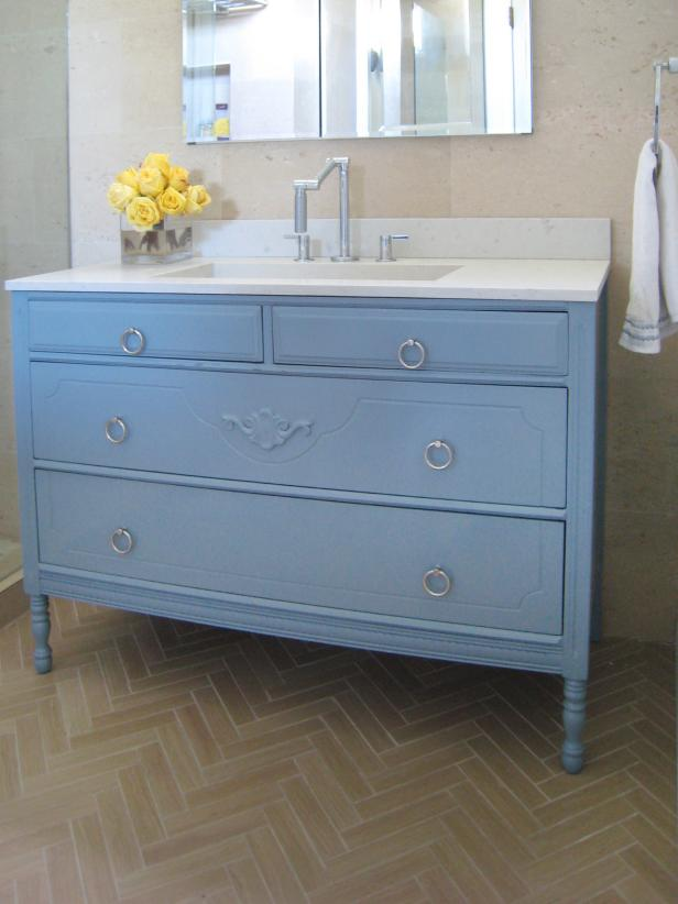Learn how to Turn a Cabinet into a Vanity.