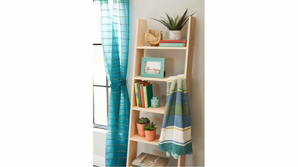 ladder shelves,leaning,shelfs,free woodworking plans,projects,do it yourself,woodworkers