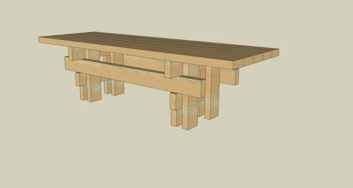 Free plans to build a Japanese Garden Bench.