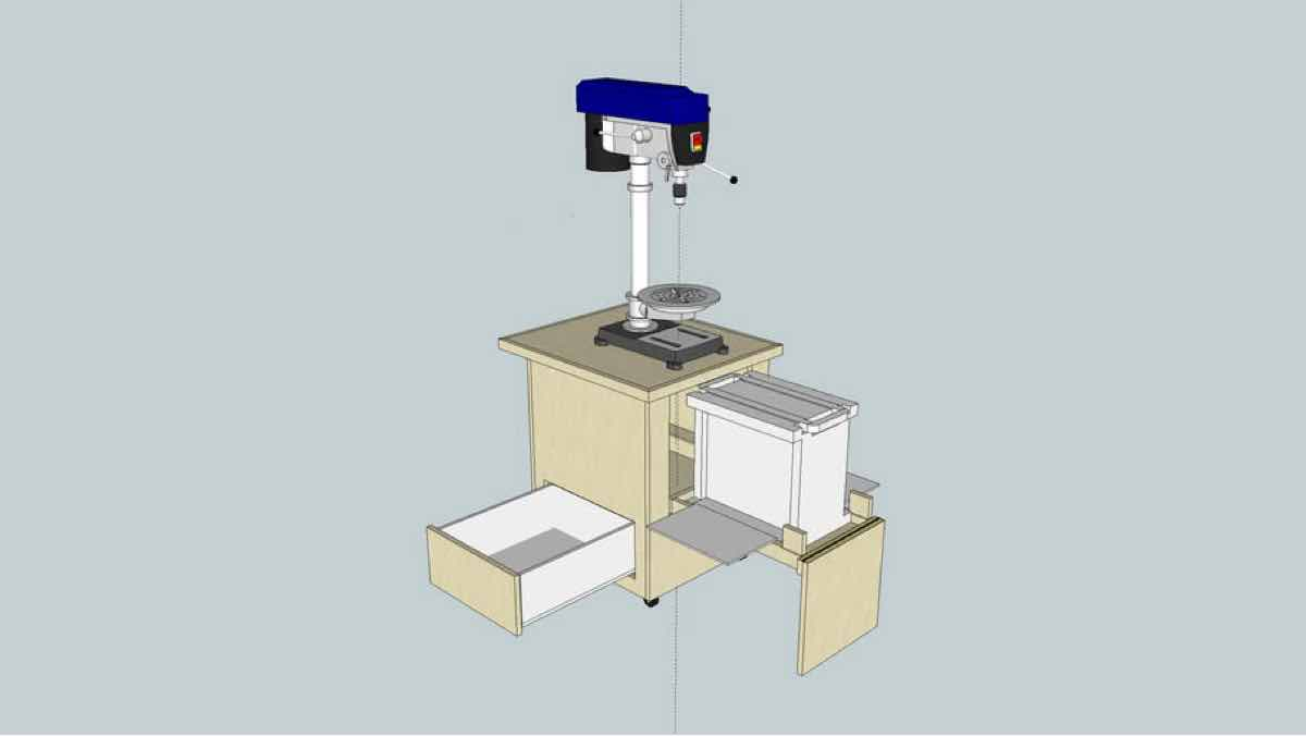 drill press,planer,sketchup,Google 3D,3-D warehouse,carts,cabinets,workshop,drawings,free woodworking plans,workshop projects,do it yourself
