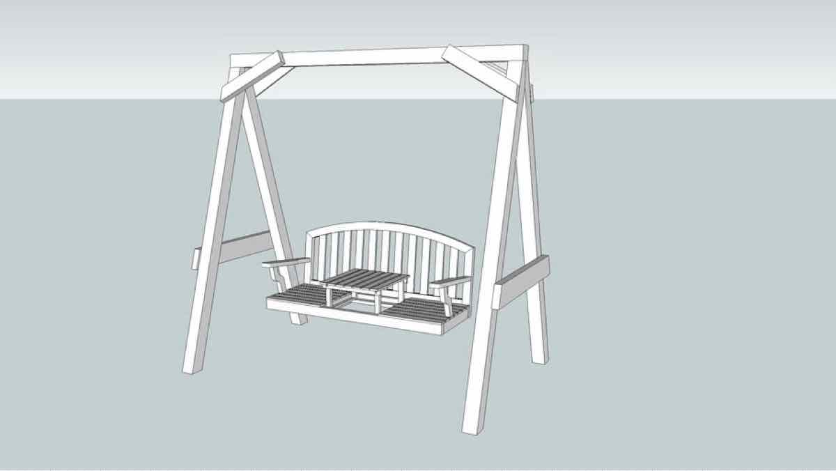 swings,garden swings,sketchup,Google 3D,3-D warehouse,freestanding,outdoors,drawings,free woodworking plans,projects,do it yourself,woodworkers