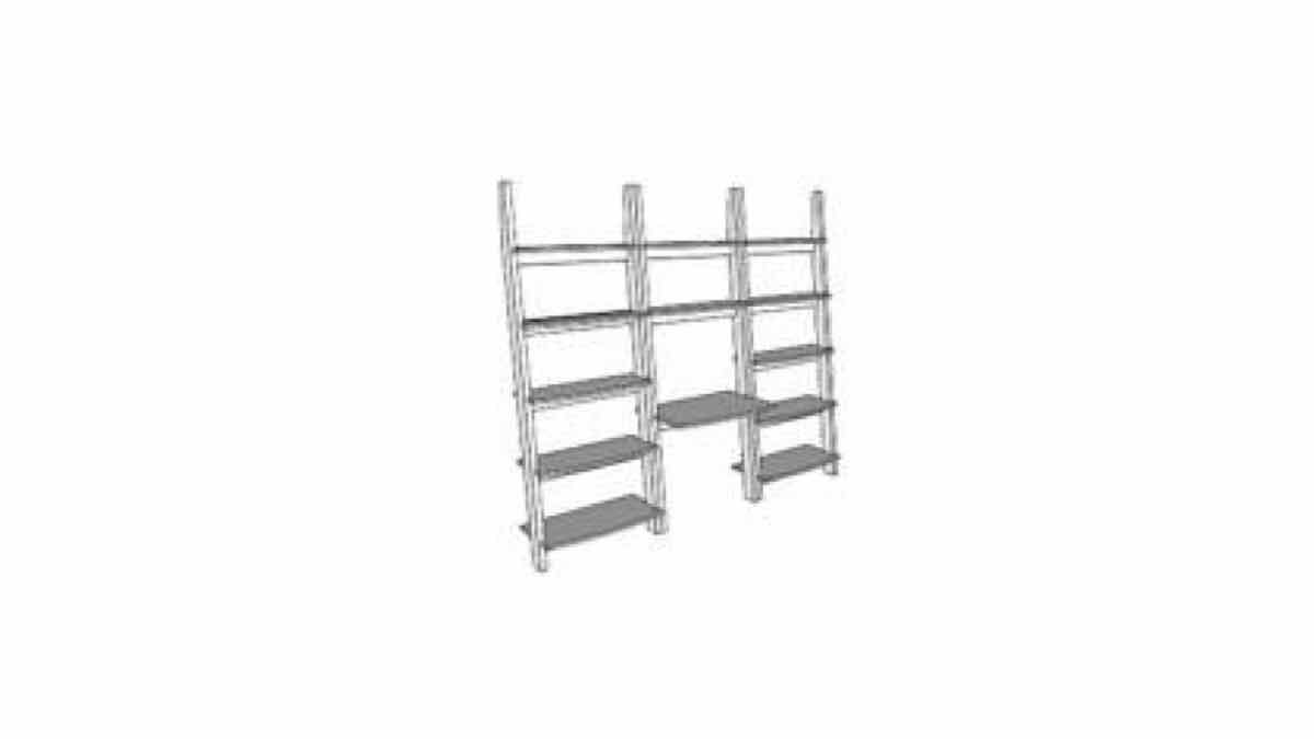 shelves,shelving,sketchup,Google 3D,3-D warehouse,furniture,leaning,ladder shelves,drawings,free woodworking plans,projects,do it yourself,woodworkers