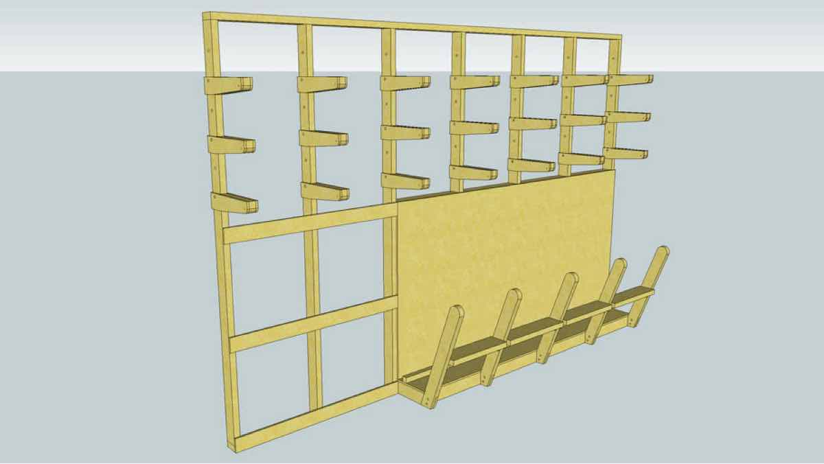 lumber racks,storage,sketchup,Google 3D,3-D warehouse,free woodworking plans,workshop projects,do it yourself