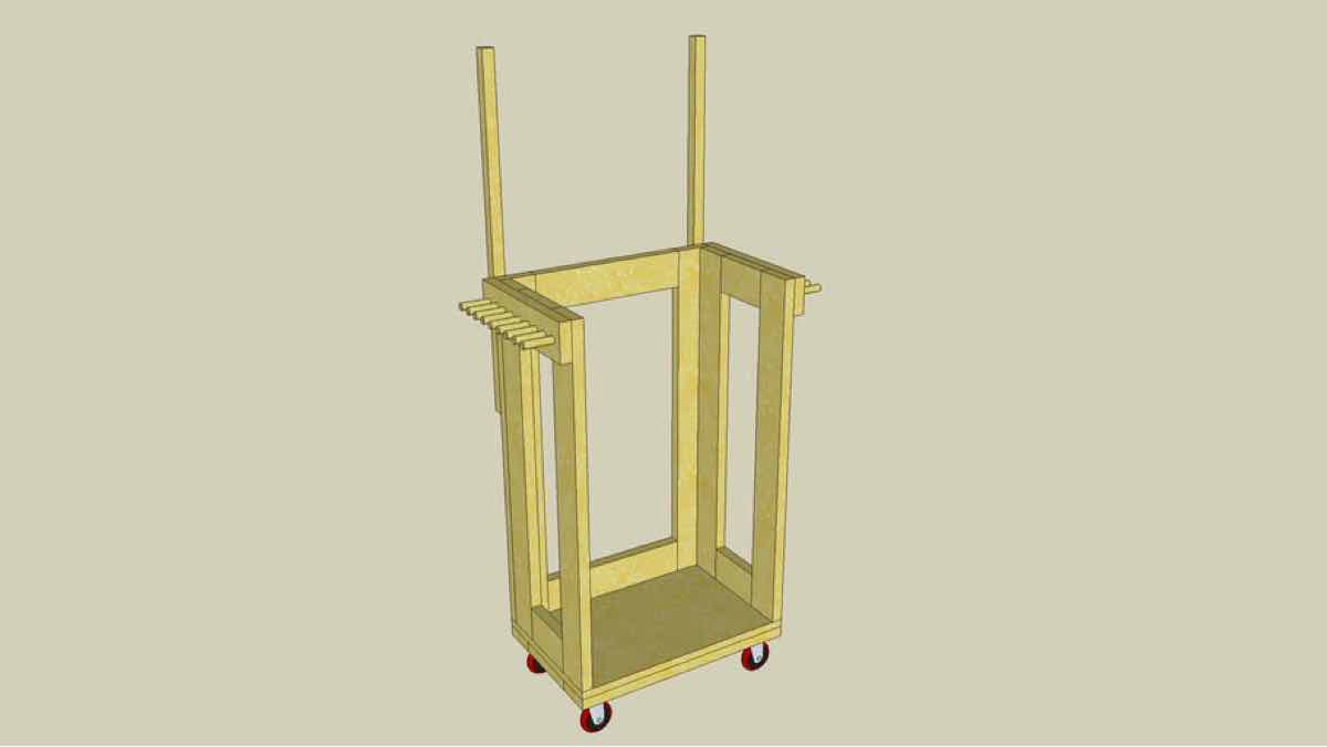 clamp carts,mobile,sketchup,Google 3D,3-D warehouse,clamp racks,workshop,drawings,free woodworking plans,projects,do it yourself,woodworkers