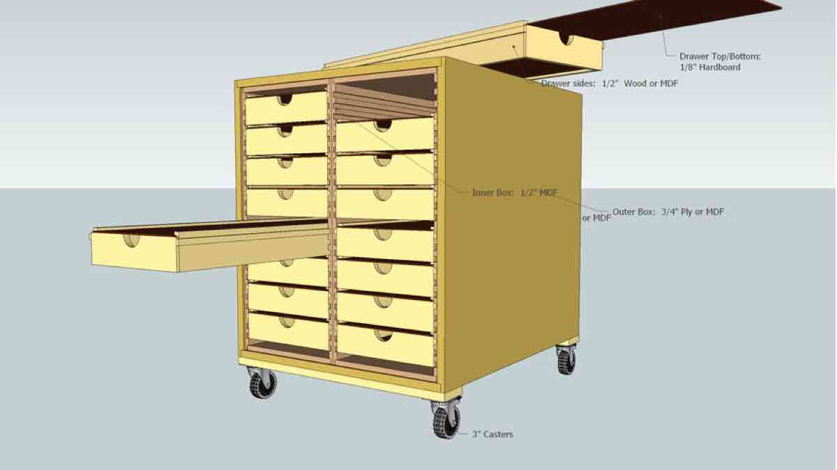 SketchUp Drawing for a DIY Rolling Shop Box