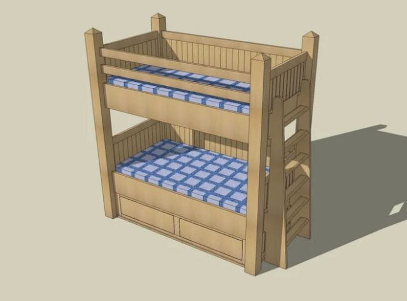 Free plans to build Bunk Bed with Drawers.
