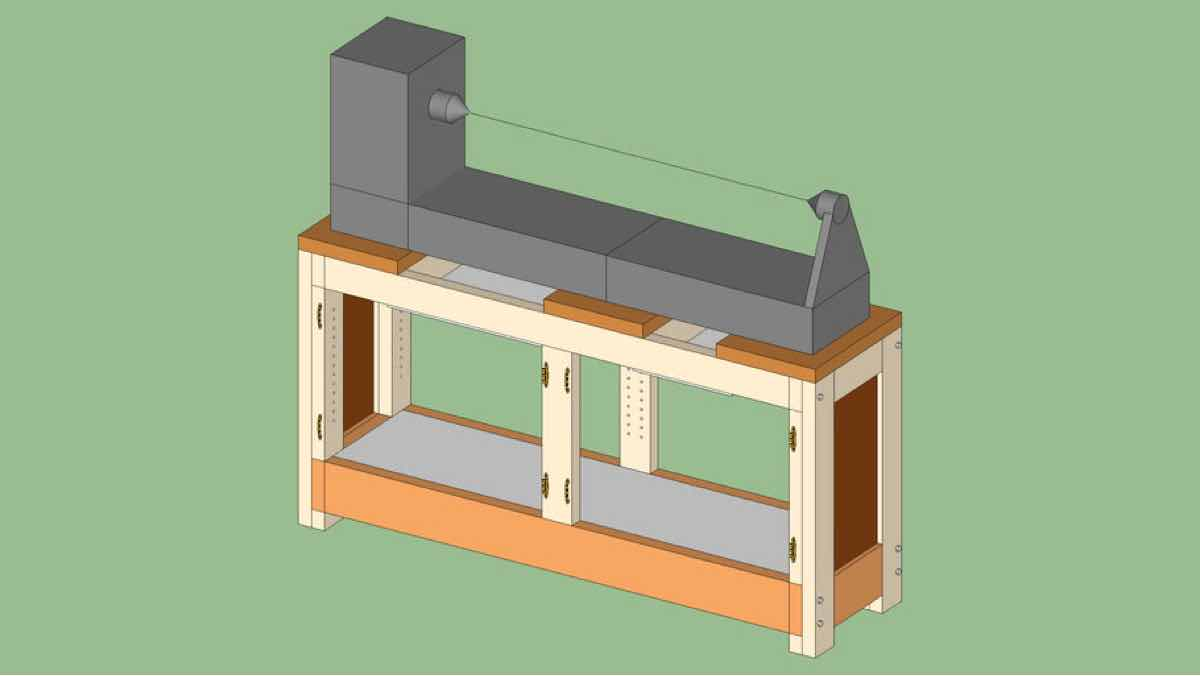 lathes,woodturning,sketchup,Google 3D,3-D warehouse,lathe stand,workshops,drawings,free woodworking plans,workshop projects,do it yourself