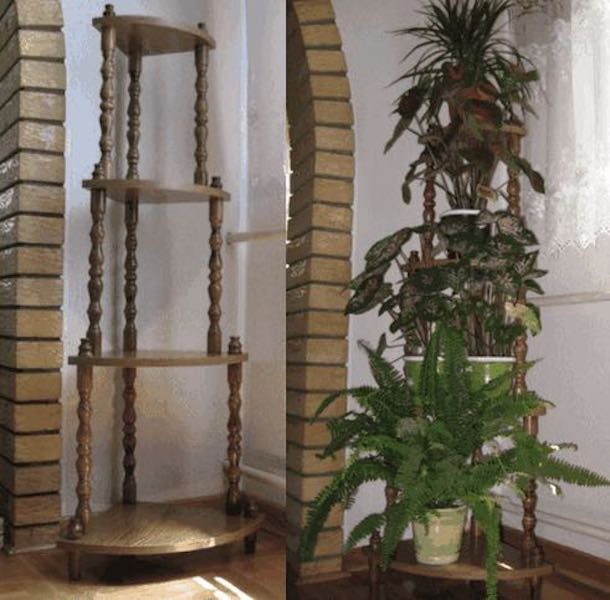 Build a Corner Plant Stand using free plans.