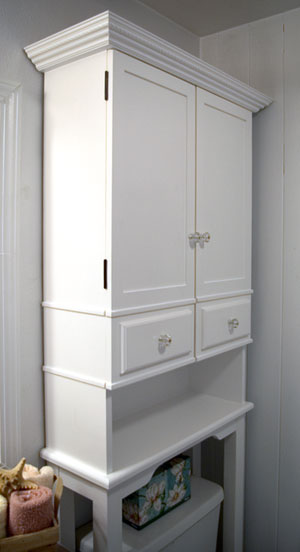 Learn how to build a bathroom storage cabinet.