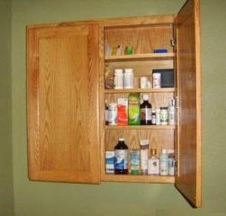 Free plans to build a Medicine Cabinet for the bathroom.