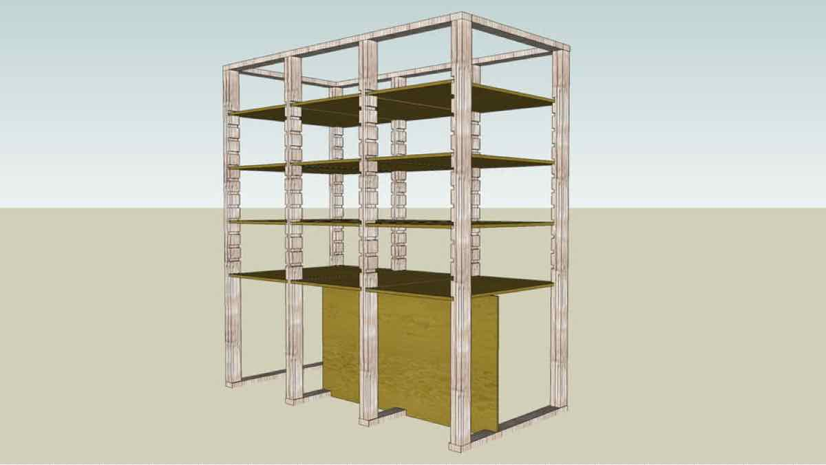 storage shelves,garages,sketchup,Google 3D,3-D warehouse,furniture,drawings,free woodworking plans,projects,do it yourself,woodworkers