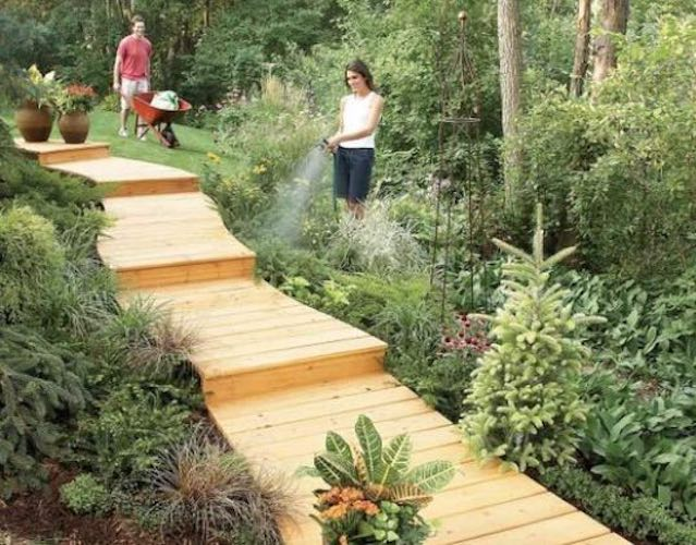 Free plans to build a backyard Handyman Boardwalk.