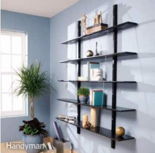 Free plans to build Suspended Bookshelves.