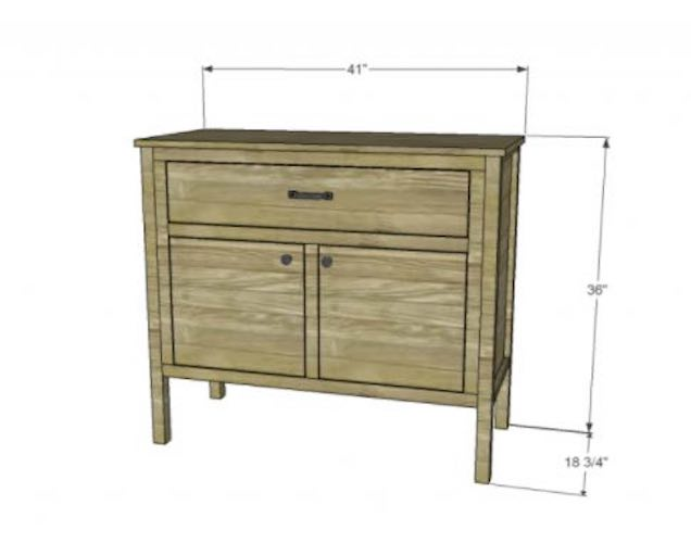 Build a Cabinet With A Drawer using free plans.