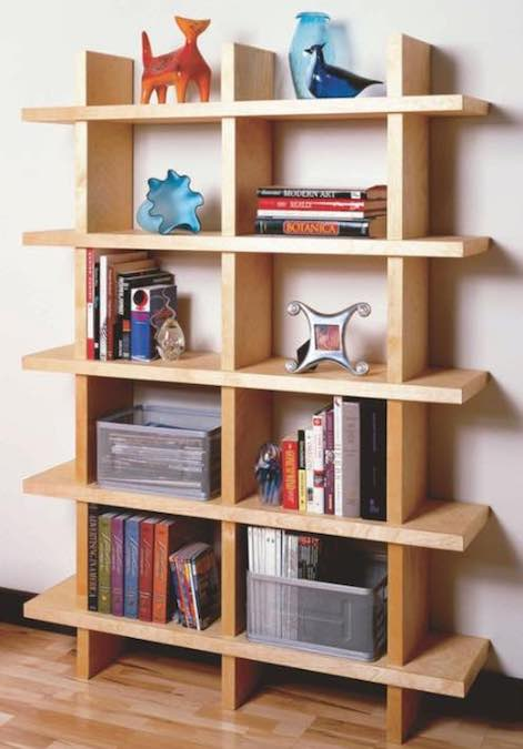 Free plans to build a Contemporary Bookcase.