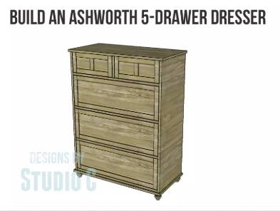 Build a 5 Drawer Dresser using these free plans.