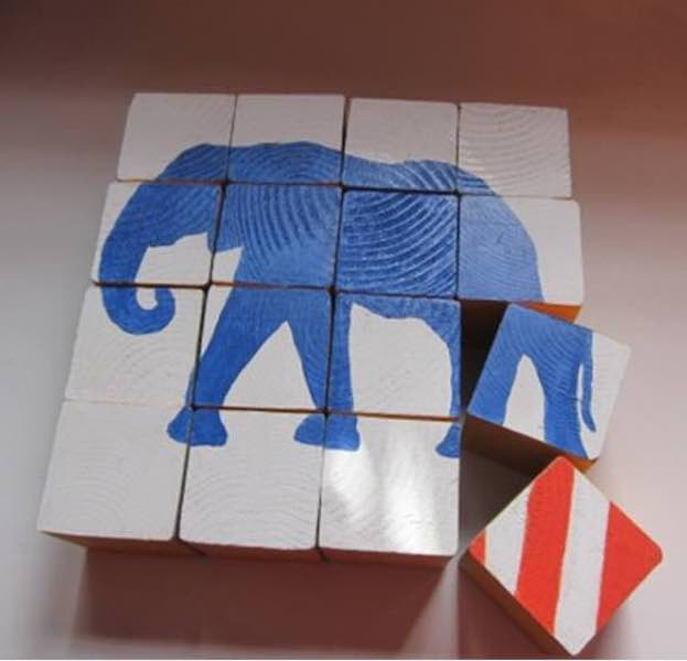 Free plans to build an Elephant Block Puzzle.