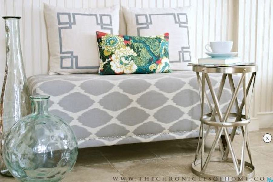 Free plans to build this DIY Upholstered Bench.