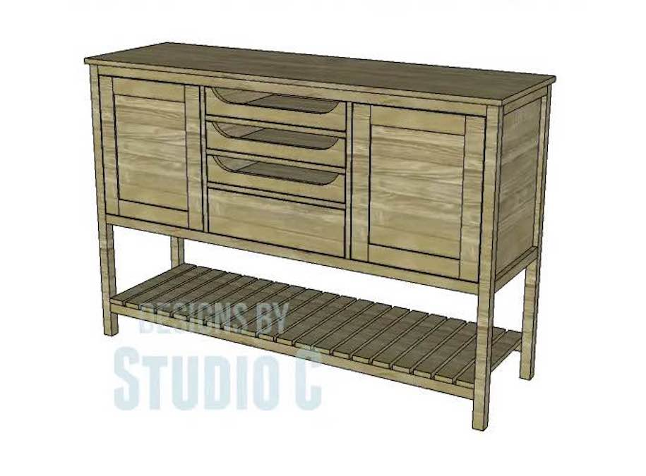 Free plans to build a Farmhouse Sideboard.