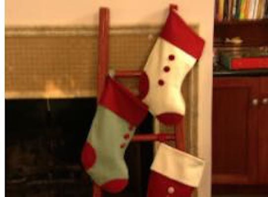 Build a Christmas Stocking Ladder using free plans.