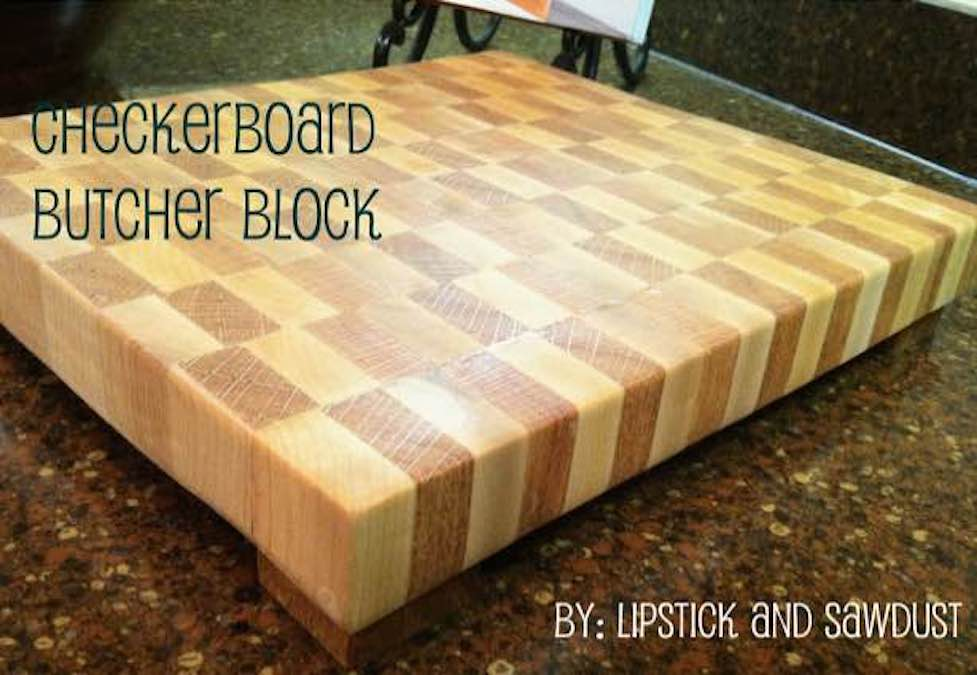 Free plans to build a Checkerboard Butcher Block.