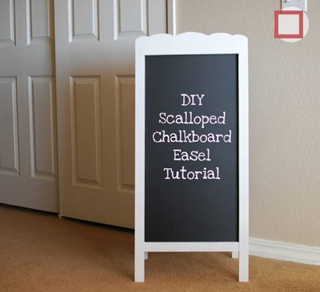 Build a Scalloped Chalkboard Easel using free plans.