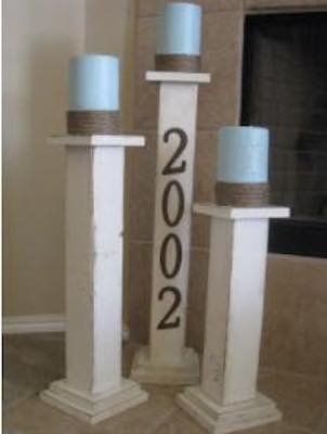 Build Tall Pillar Candle Holders using free plans.