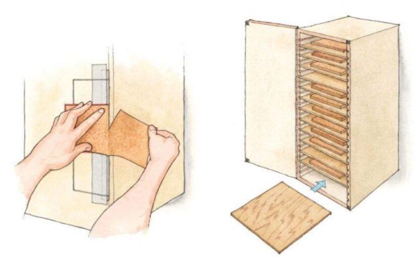 Wall Mounted Sandpaper Storage Cabinet
