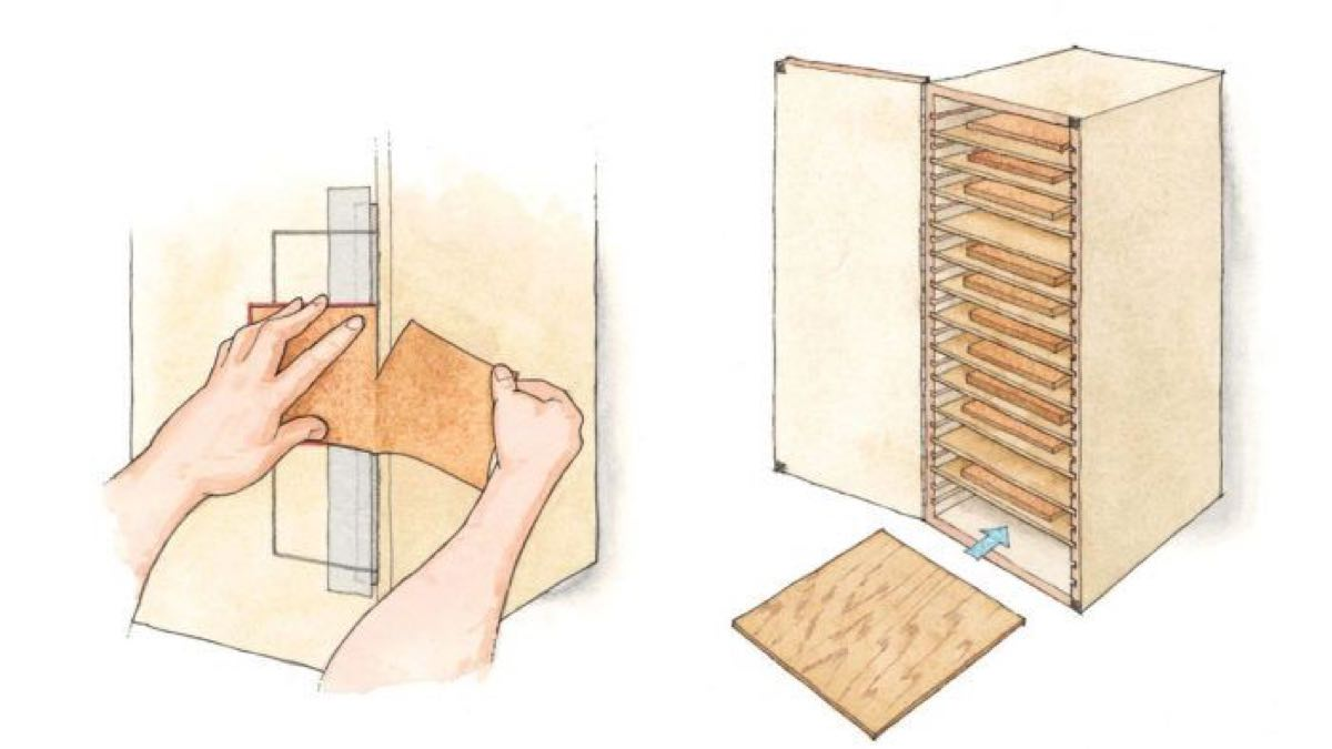 Wall Mounted Sandpaper Storage Cabinet Free Workshop Plans