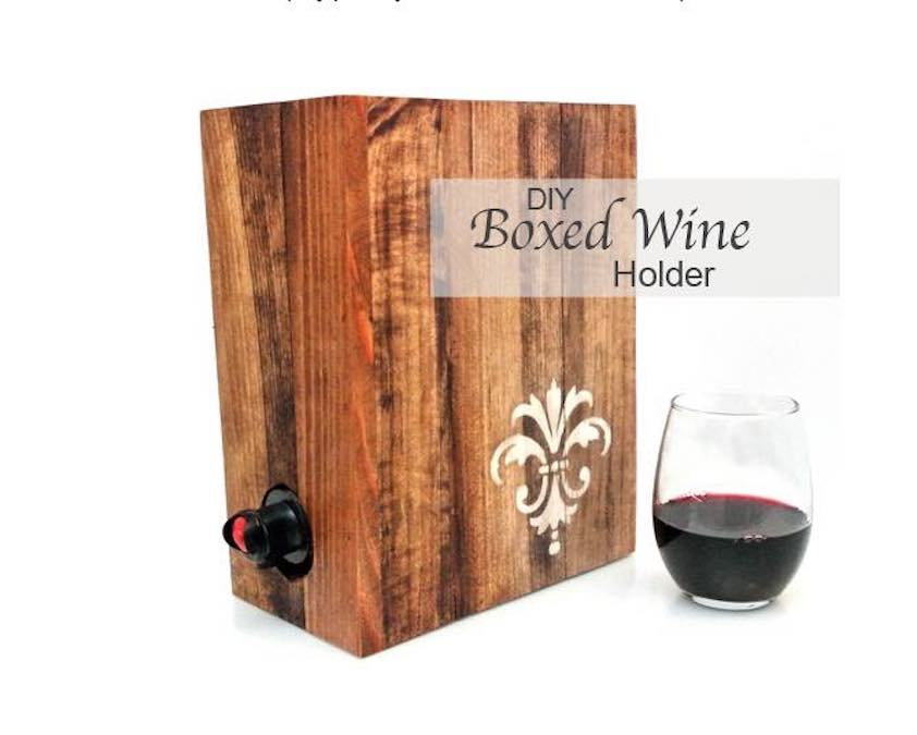 Free plans to build a Boxed Wine Holder.