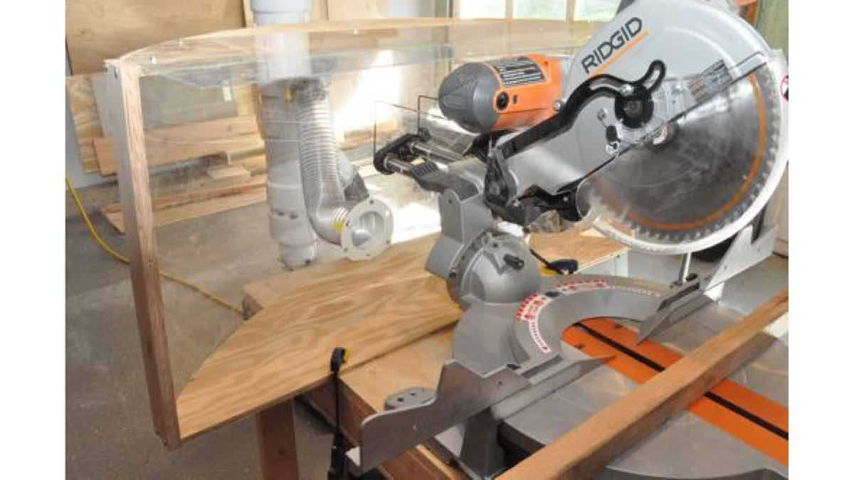 dust collection,miter saws,dust hoods,free woodworking plans,projects,diy,workshop