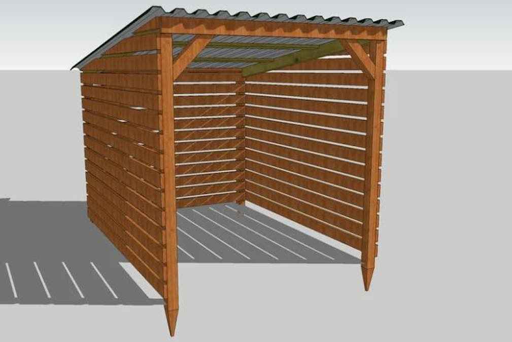 Free plans to build a Firewood Shed.