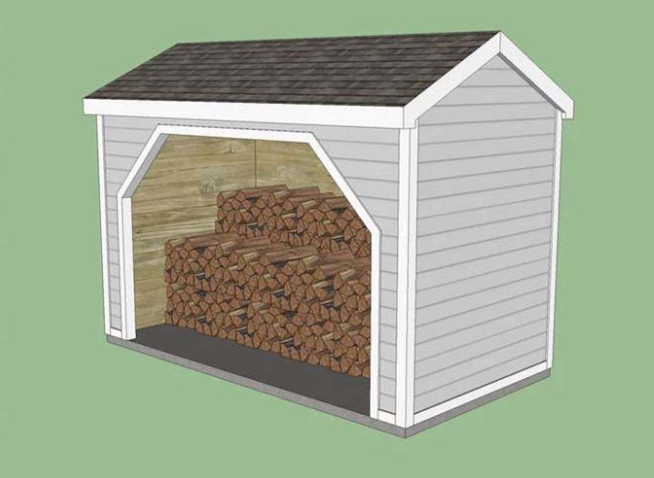 Free plans to build a Firewood Storage Shed.